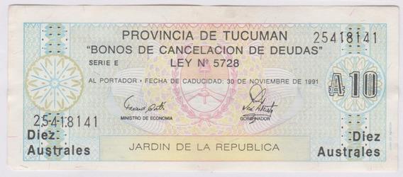 Argentina 1989 Bono De Tucuman De 10 Australes