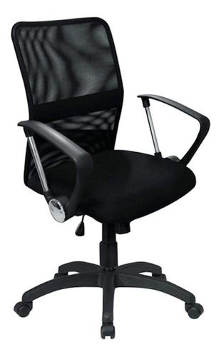Silla de escritorio Morshop S8  negra con tapizado de mesh