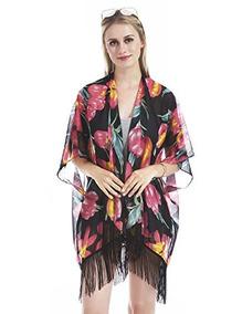 Hifand Mujeres Kimono Cárdigan Borla Vintage Floral Playa E