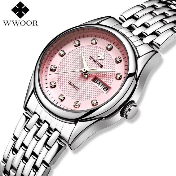 Relógio Feminino Rosa Calendário Duplo Mod 8824