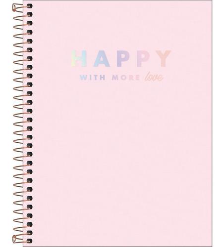 Caderno Colegial 10mat. Happy Rosa 160 Fls - Tilibra