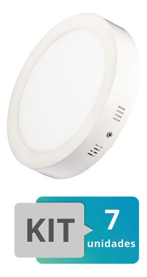Kit 7 Painel Plafon Led Sobrepor Redondo 18w Branco Quente