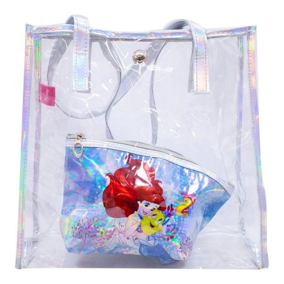Bolsa Feminina Com Necessaire Ariel Pequena Sereia - Disney
