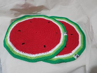 Set 2 Individuales De Sandia A Crochet Deco Mesa Comedor