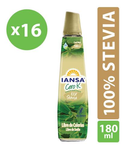 Endulzante Liq 100% Stevia 180ml Iansa Cero K Pack 16 Un