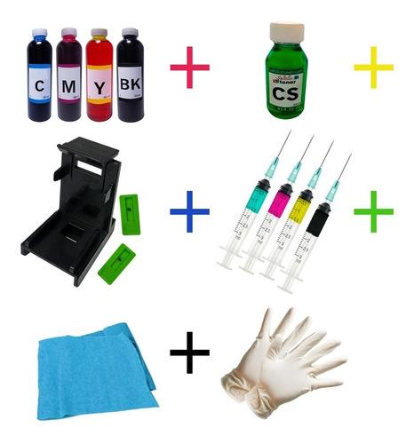 Imagen 1 de 4 de Kit De Recarga Para Cartuchos Hp 664/662 + Liquido Limpiador