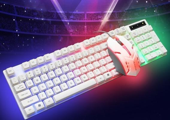 Kit Teclado Y Mouse Gamer Luminoso Luces Led Usb Pc Laptop