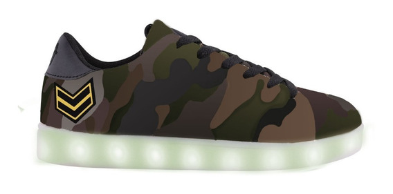 Zapatillas Footy Led Camuflada Verde 29-34- Footy Oficial