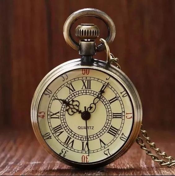 Mini Relógio Quartzo De Bolso Design Roman Vintage Bronze