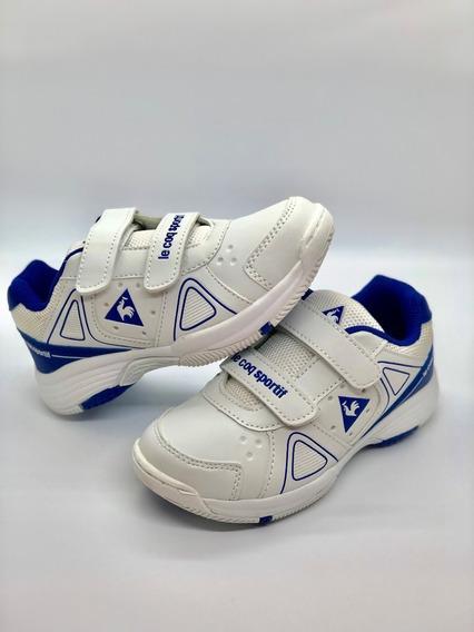 Zapatillas Lecoq Sportif Niño C/ Abrojo Blanco Azul Escolare