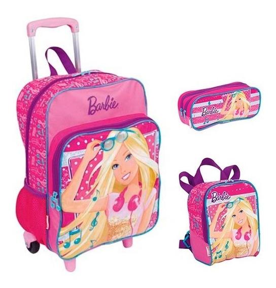 Kit Mochila Escolar Infantil Barbie Plus Com Rodinha Gde