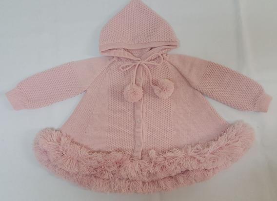 Casaco (trapézio) Para Bebê Rosa Flor Com Capuz Tricot