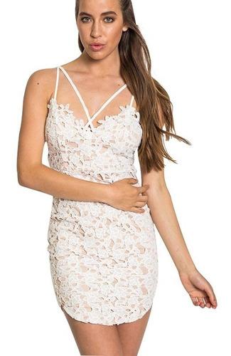 Vestido De Encaje Blanco Talla M Importado Nuevo Importado