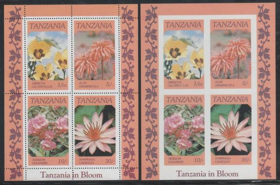 Estampillas Tanzania 1986 Flores Hb Mint Dentado Y S Dentar