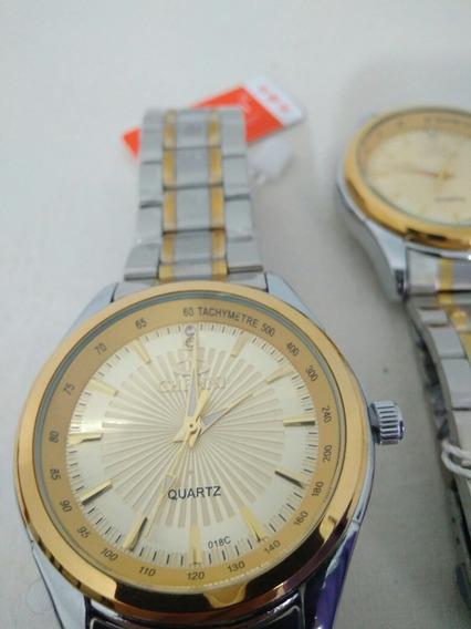 Relógio Masculino Prata Dourado Prova Dágua Luxo