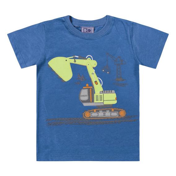 Camiseta Em Algodão - Máquina Escavadeira - Azul - Duduka