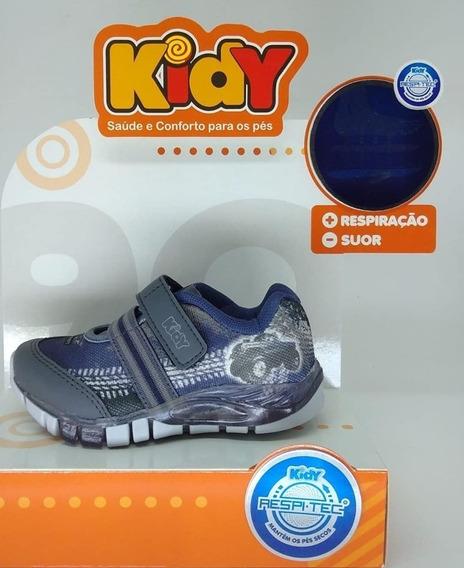 Tenis Kidy Flex Light 020-0103-3438 Grafite/marinho C/ Luz