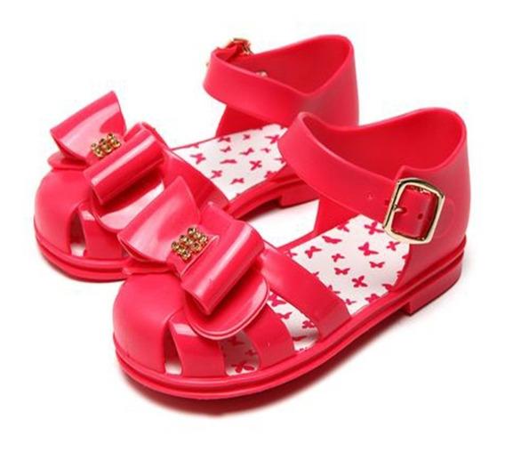 Sandália Infantil Menina Pimpolho Com Laço Rosa 23 E 26