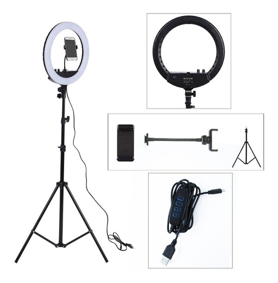 Iluminador Led Ring Light 26cm + Tripé 1,80m Suporte Celular