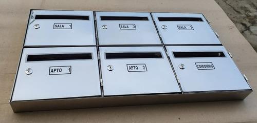 Caixa Correio Inox 304 Painel P/condomínio Com 6 Repartições