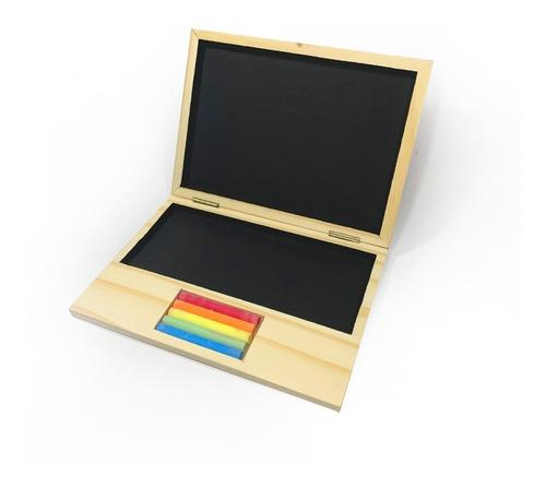 Imagen 1 de 6 de Pizarra Notebook Computadora Infantil Madera Didáctica Tizas