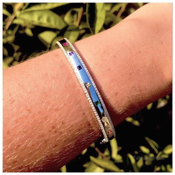 Bracelete Prata 925 Detalhes Quadradinhos Coloridos