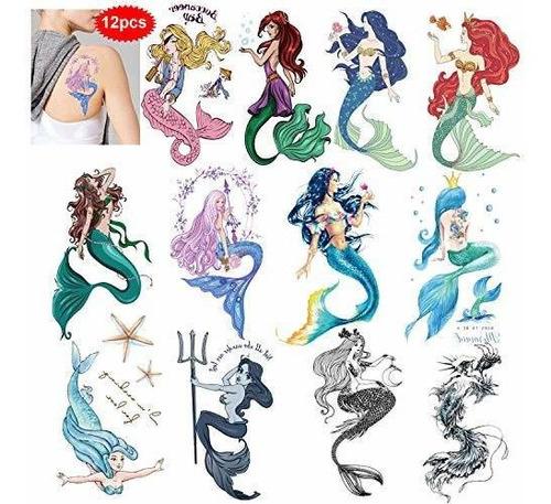 Imagen 1 de 7 de Konsait 12 Hojas Grandes Tatuajes Temporales De Sirena Para