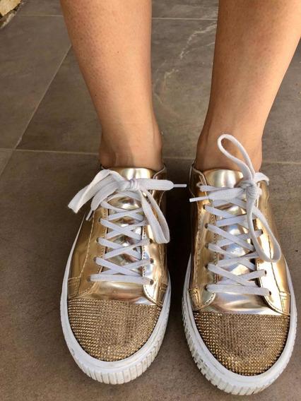 Zapatillas Doradas Sarkany Casi Nuevas. N 37