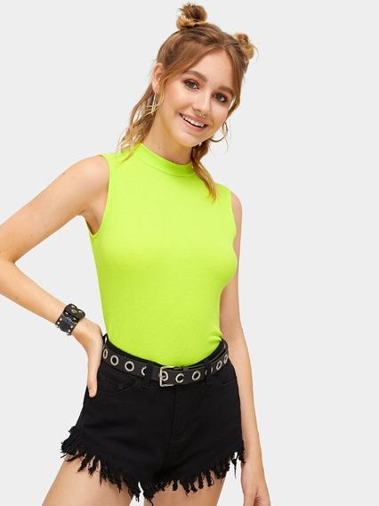 Polera Beatle Manga Corta Verde Neon Moda Mujer