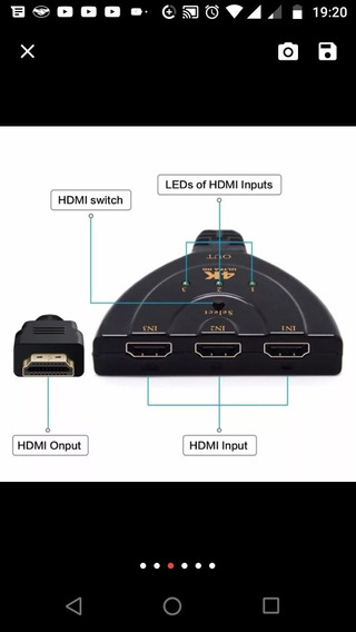 Adaptador Hdm 4 K Switcher Hdmi 4k 3 Em 1 Out Porto Hub 4 K