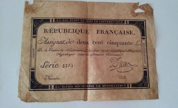 1793 - Antiguo Billete Francés De 250 Libras