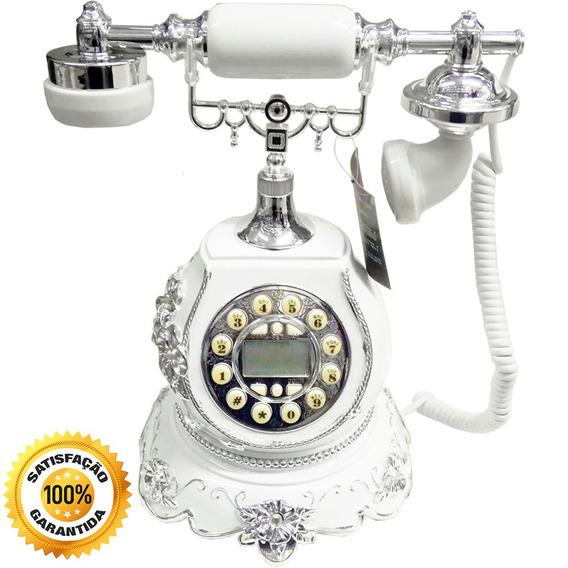 Telefone Fixo Porcelana Vintage Antigo Digital Branco Prata