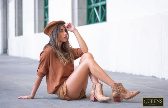 Texanas Bajas De Cuero 100% Bordadas Mujer Botas Milan