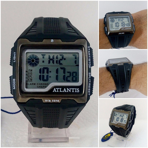 Relógio Masculino Digital Atlantis Quadrado Original Frete Gratis 12x Sem Juros