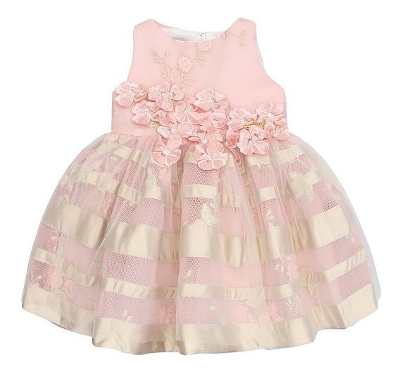 Vestido Infantil Animê Telado Rosa Com Flores Bordado