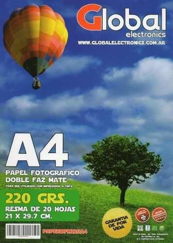 Papel Foto A4 Bifaz Doble Faz A4 220gr 20 Hojas Mate Global
