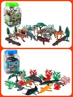 Kit Animales De Mar Y Selva Jungla 20 Piezas C/u Infantil