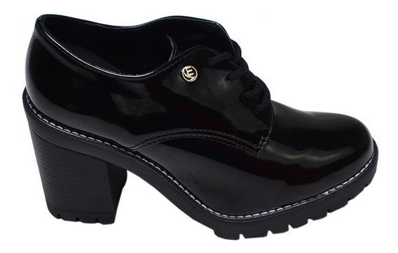 Sapato Feminino Oxford Solado Tratorado Via Marte Preto
