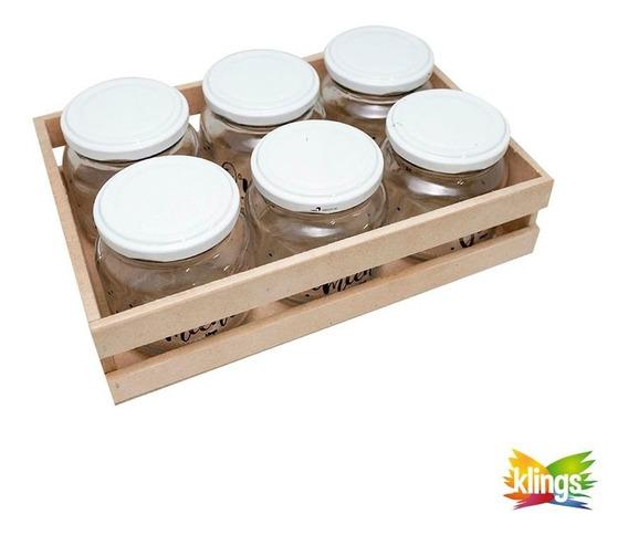 Tres Tarros de cerámica con cajones de madera