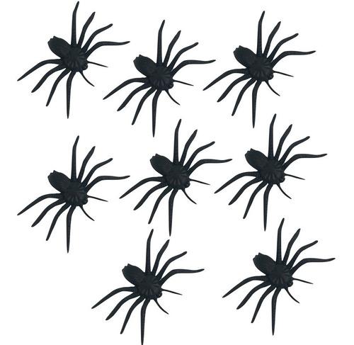 Arañas Negras Plástico X8 Combo Arañita Decoración Halloween