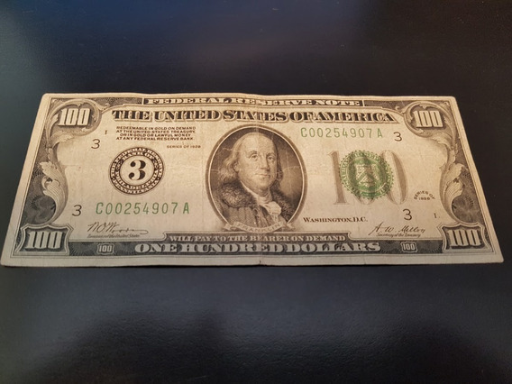 Nota De 100 Dólares Antiga Ano 1928 Colecionador