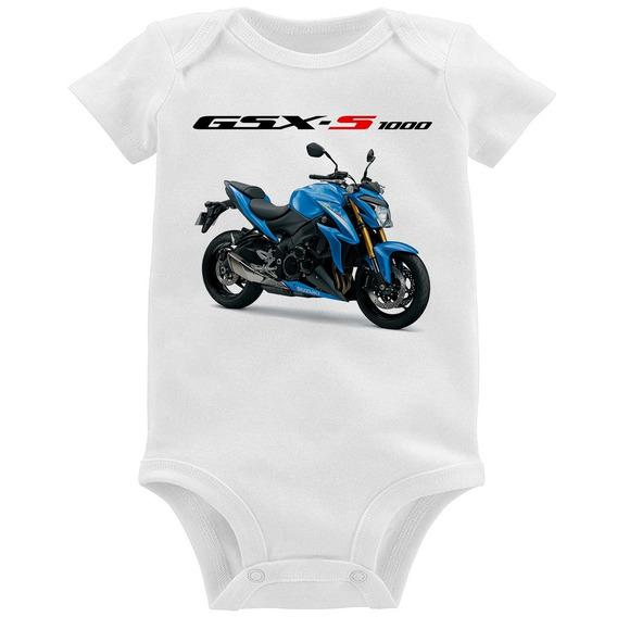 Body Bebê Moto Suzuki Gsx S 1000 Azul