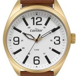 Relógio Condor Masculino Analógico Dourado Couro Marrom