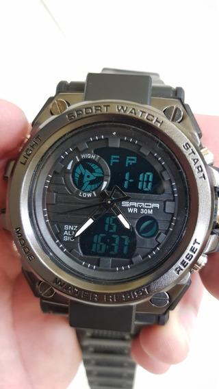 Relógio Militar Esportivo Sanda Analógico Digital Original