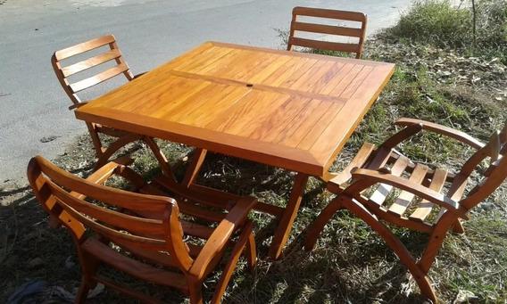 Mesa Dobravel Madeira 1 X 1 Mais 4 Cadeiras Articuladas.