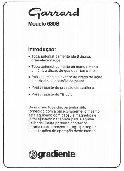 Manual Toca Discos Gradiente Garrard 630s - Cópia Dig. Pgs