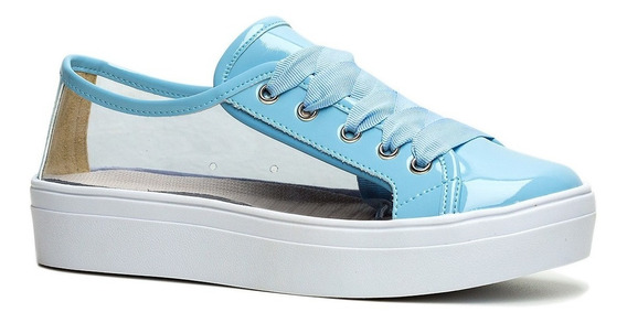 Tênis Solado Ftatform Vinil Azul Ff Shoes - Postagem Rápida