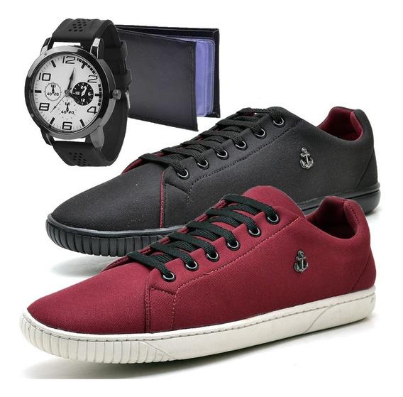 2 Tenis Masculino Sapatenis Sapato C/ Relógio E Carteira