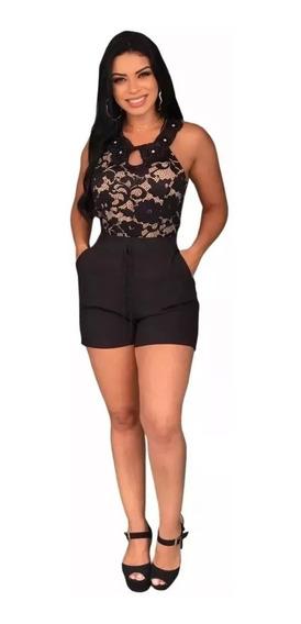 Shorts Feminino Curto Cintura Alta Em Crepe Moda 2019