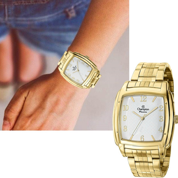 Relógio Feminino Champion Passion Dourado Quadrado Ch24553h